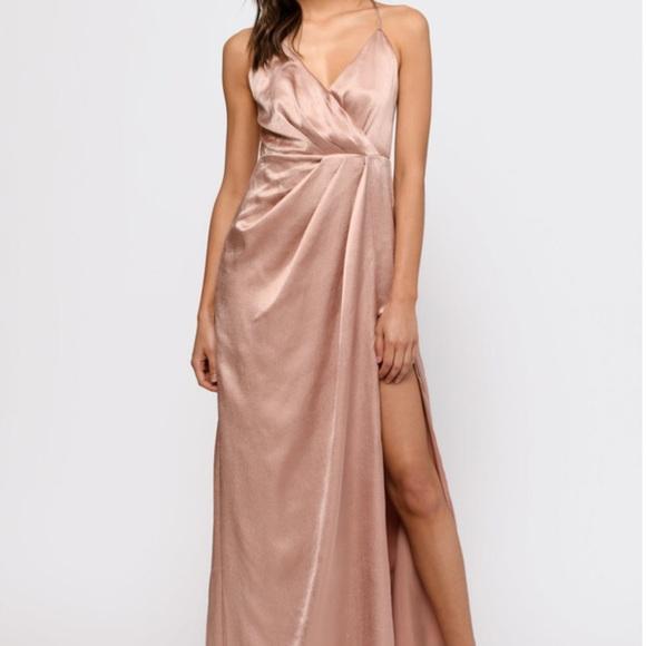 Tobi Dresses & Skirts - Rose Gold Satin Maxi Dress